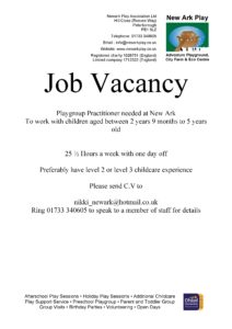 Job vacancy - preschool - New Ark Play